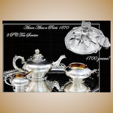 Antique French Guilloche Sterling Tea Service Royal Provenance