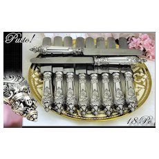 Antique French Sterling Silver Dinner Knife Set 18 PC Angel Mascarons