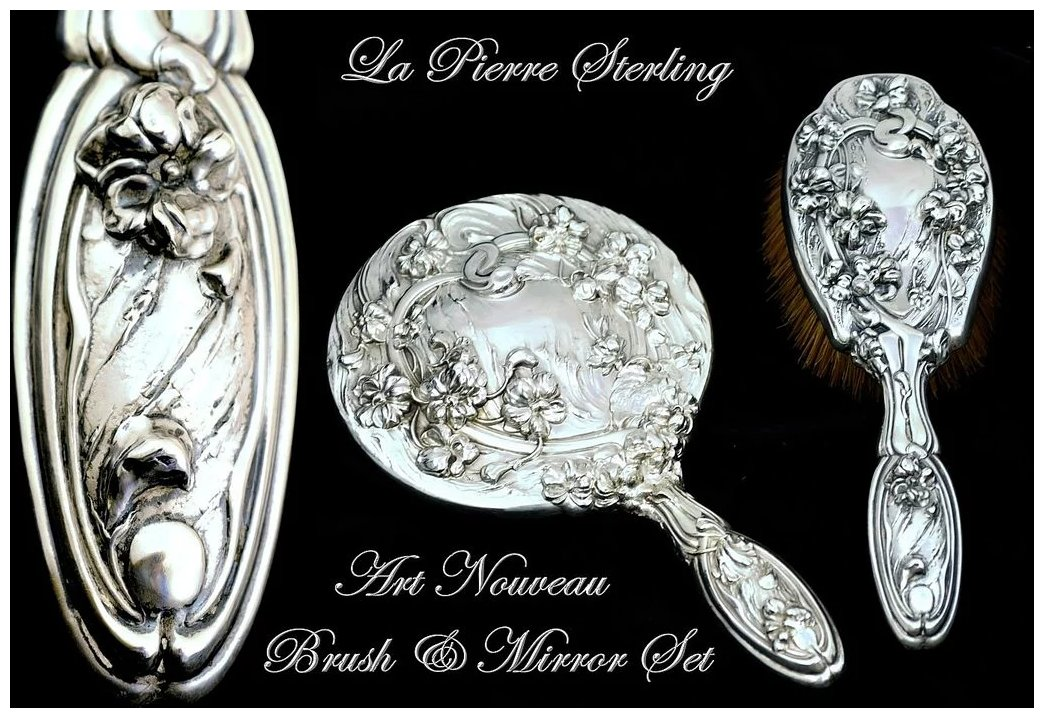 Antique Sterling Silver 2 Pc Vanity Dresser Set La Pierre