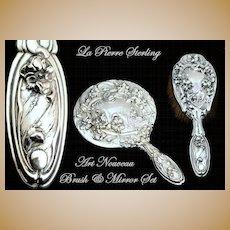Antique Sterling Silver 2 Pc Vanity Dresser Set La Pierre Art Nouveau