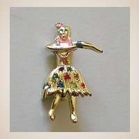 Detailed Vintage Hawaiian Hula Girl Pin With Rhinestones