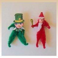 2 Vintage Holiday Pipe Cleaner Figures Santa & Leprechaun
