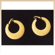 Pair Vintage 1930's Bakelite Chunky Hoop Earrings