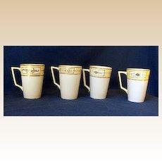 4 Hand Painted Nippon China Lemonade or Hot Chocolate Cups