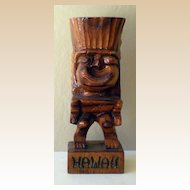 Hand Carved Wood Hawaiian Tiki God Statue
