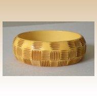 """Large Chunky Bakelite Bracelet Hand Carved """"Basket Weave"""""""