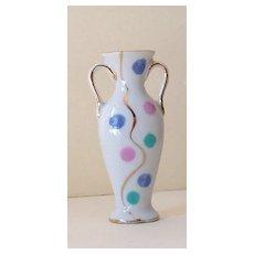 Small Vintage Porcelain Bud Vase With Polka Dots