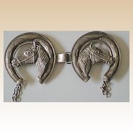 Vintage Western Vest Or Bridle Decoration Horse Heads