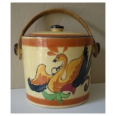 Vintage Biscuit Jar With Lid & Wicker Handle