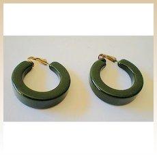 LARGE Green Bakelite Hoop Earrings 1930's