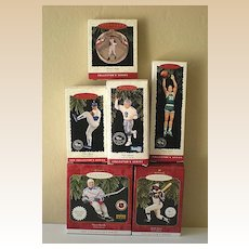 (6) Vintage Hallmark Sports Ornaments Mint In Boxes