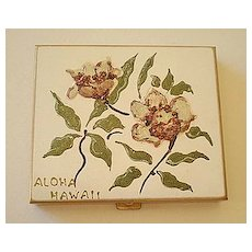 "Vintage Hand Painted Powder Compact ""Aloha Hawaii"""