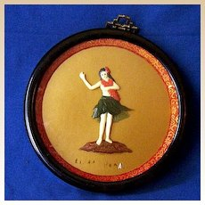 3 Dimensional Framed Hawaiian Hula Girl