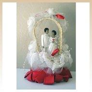 Vintage Ethnic Wedding Cake Topper Bride & Groom