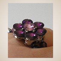 Unique Purple Rhinestone & Glass Bead Ring
