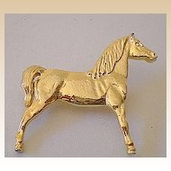 Gold Tone Metal Horse Pin or Brooch