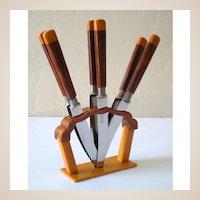 Fabulous Deco Bakelite Fruit Knife Set With Stand