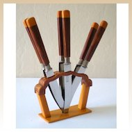 Fabulous Deco Bakelite Fruit Knife Set With Stand
