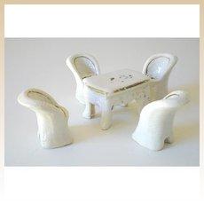 Vintage Dollhouse Miniature Porcelain Table & Chairs Set
