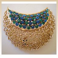 Gorgeous Signed Karu Arke Blue/Green Rhinestone Brooch