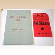 1950's Matson Line Liquor Menu & Stateroom Luggage Card