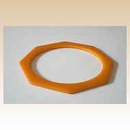 Rich Butterscotch Octagon Cut Bakelite Bracelet