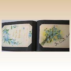 Antique Post Card Album w/ 68 Cards Holidays etc.