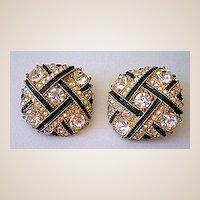 HUGE Glitzy Vintage Rhinestone & Black Earrings