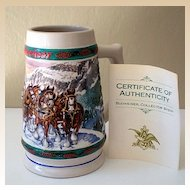 """Special Delivery"" Budweiser Holiday Collector Stein 1993"