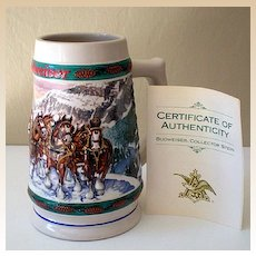 """""""Special Delivery"""" Budweiser Holiday Collector Stein 1993"""