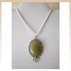 """24"""" Italian Sterling Silver Chain With Large Pendant"""