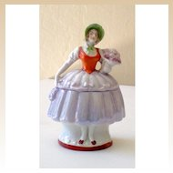 Vintage Lady Half Doll Style Powder Box Germany