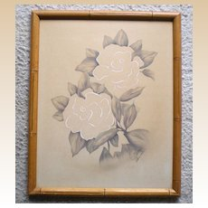 Vintage 1940's Hawaiian Flowers Watercolor