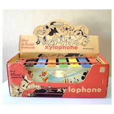 Vintage Tin Litho Walt Disney Character Xylophone with Box