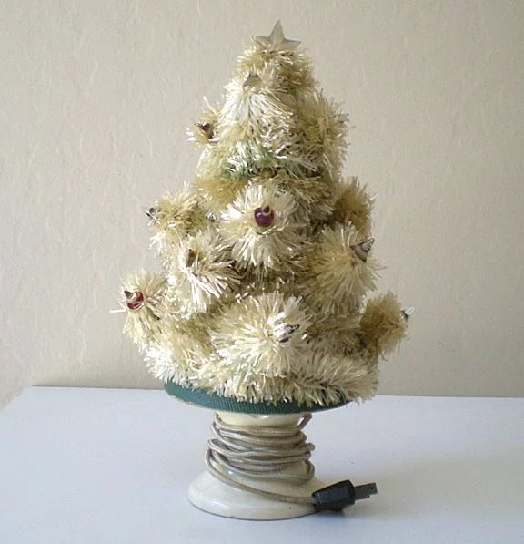 Table Top Lighted Christmas Tree: Rare Old Lighted Table Top Christmas Tree : California