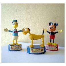 (3) Disney Character Maxi Push Puppets 1960's