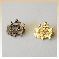 Pair (2) Tiny Music Piano Awards Pins 1958 & 1959