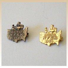 Pair (2) Tiny Music Piano Awards Pins 1958 & 1959