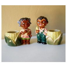 Awesome Vintage Pair Black Americana Ceramic Planters