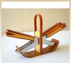1930's Art Deco BAKELITE Fruit Knife Set 2 Tone