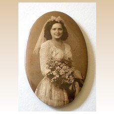 Vintage Pocket Mirror Real Photo Bride