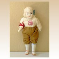 Oddly Dressed Jointed Bisque Doll