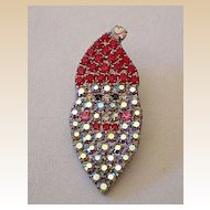 Crystal Santa Claus Face Lapel Pin