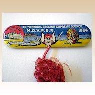 1934 Tin Litho Pinback M.O.V.P.E.R. GREAT Graphics