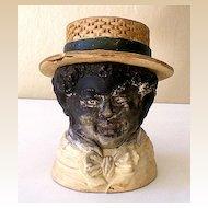 RARE Vintage Black Americana Tobacco Jar Negro Man