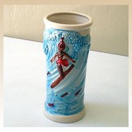 Vintage Surfing Hula Girl Drink Glass or Vase