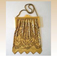 Gorgeous Vintage Whiting Davis Gold & Black Mesh Purse