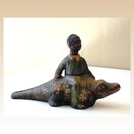 Black Americana Cast Iron Boy on Alligator