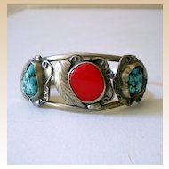 Vintage Native American  Bracelet Coral & Turquoise Stones