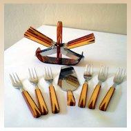 Vintage (14) Piece Two Tone BAKELITE Desert & Knifes Set